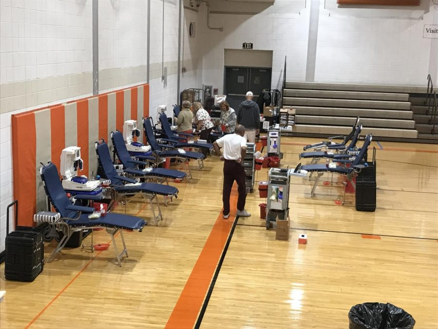 Volunteers from the Community Blood Council of New Jersey set up blood drive before students arrive on Friday.