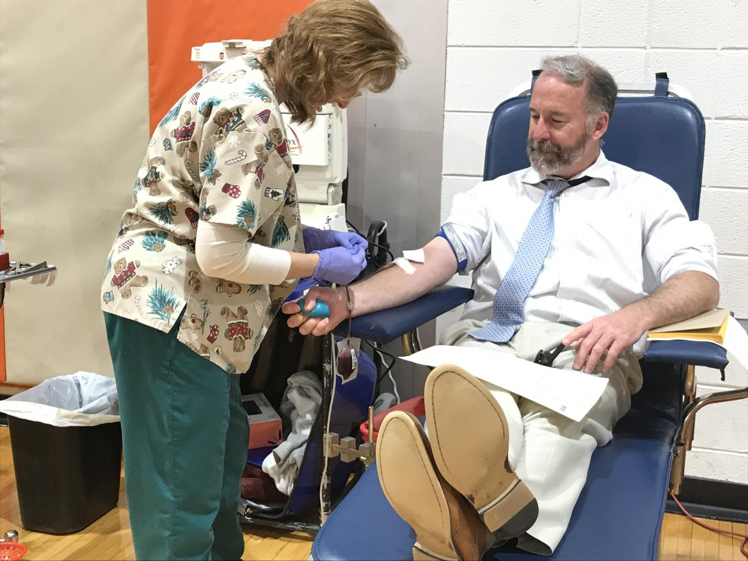 Mr. Callinan supports cause of the Community Blood Council of New Jersey by donating Friday.