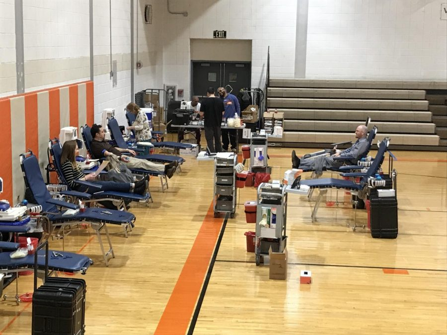 Cherokee students and staff wait to finish their donations at Fridays blood drive.