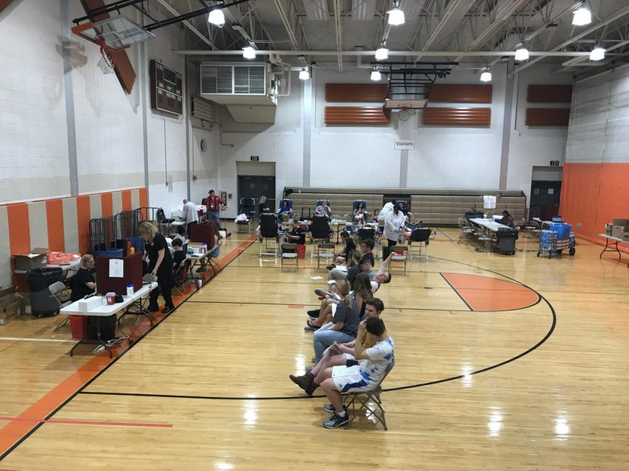 Volunteers wait to donate at Spring Blood Drive