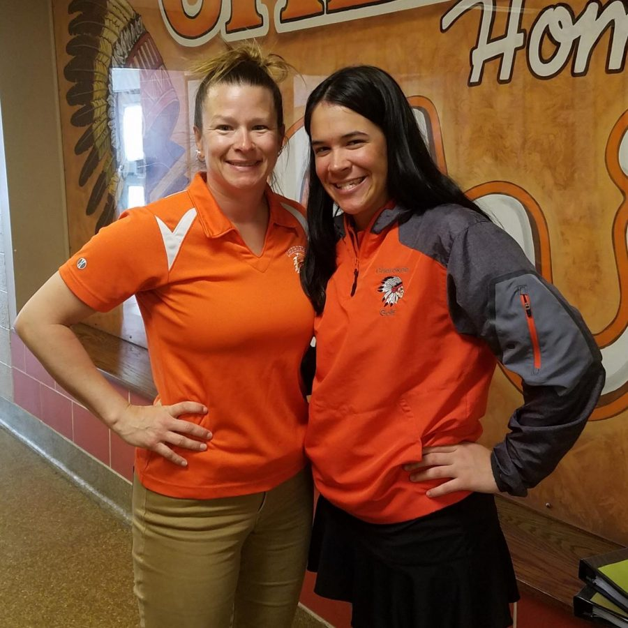 Coach Mrs. Megan Boland (left) and senior golfer Morgan Hambrecht (right) have been instrumental in the creation and success of the team