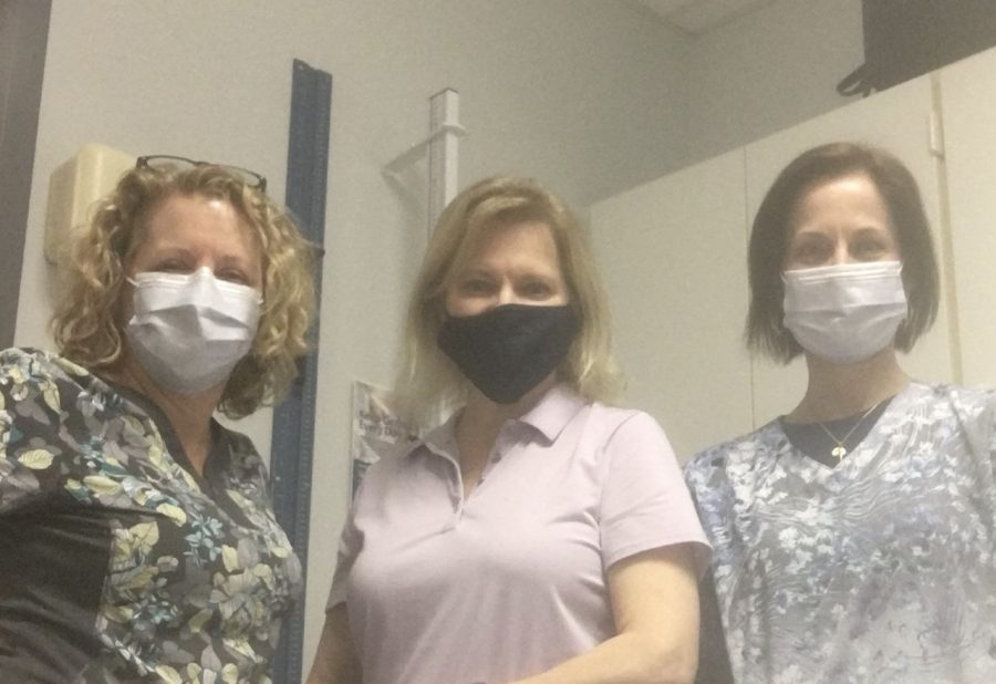 (Left to Right) Ms. Molloie, Mrs. Golden, Mrs. Ghaly (Members of Cherokee's Health Team and Mrs. Golden's coworkers).