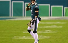 Carson Wentz walks off of the field after a play.