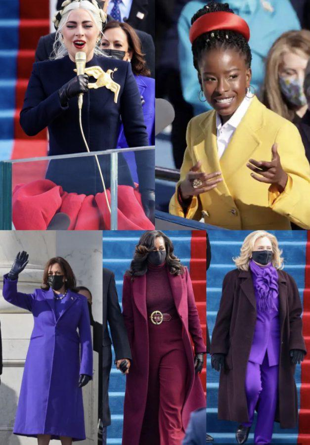 Kamala Harris, Hillary Clinton, Michelle Obama, Lady Gaga, and Amanda Gorman in their meaningful outfits